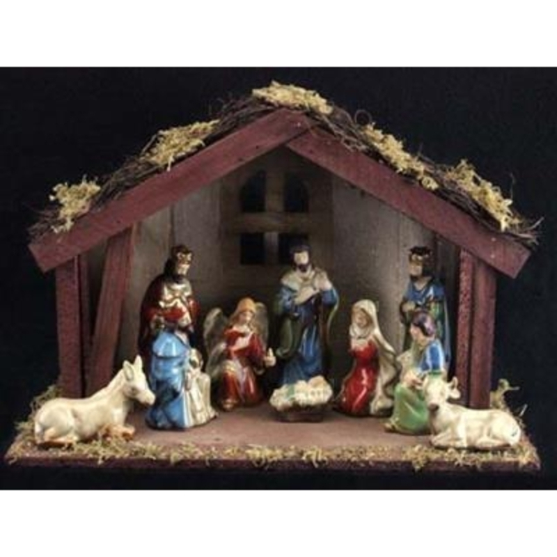11 Piece Ceramic Nativity Wooden Stable Gisela Graham: Booker Gifts