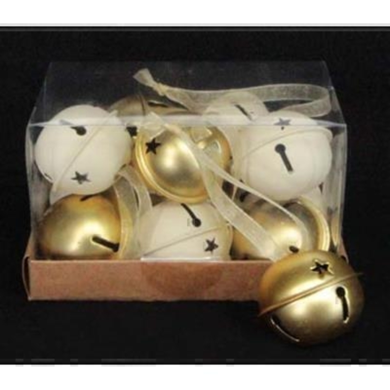 12 Cream and Gold Jingle Bells by Gisela Graham: Booker Gifts