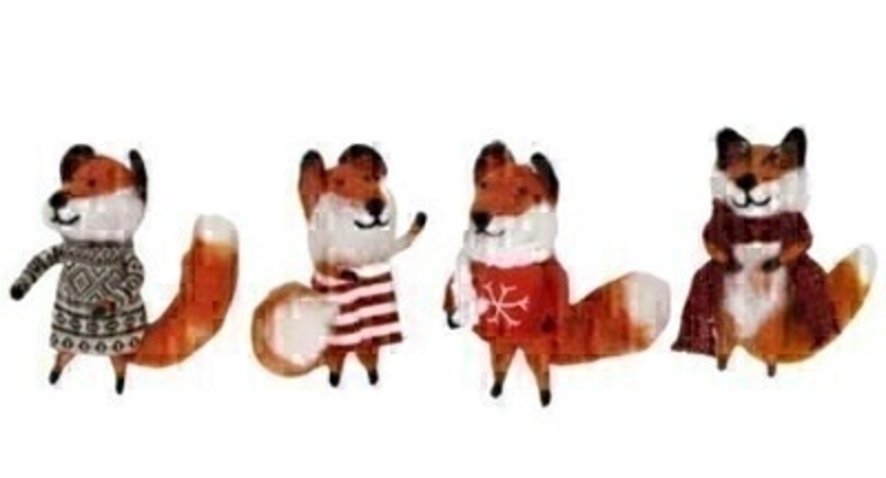 4 Foxes in Festive Jumpers Christmas Decorations by Gisela Graham: Booker Gifts