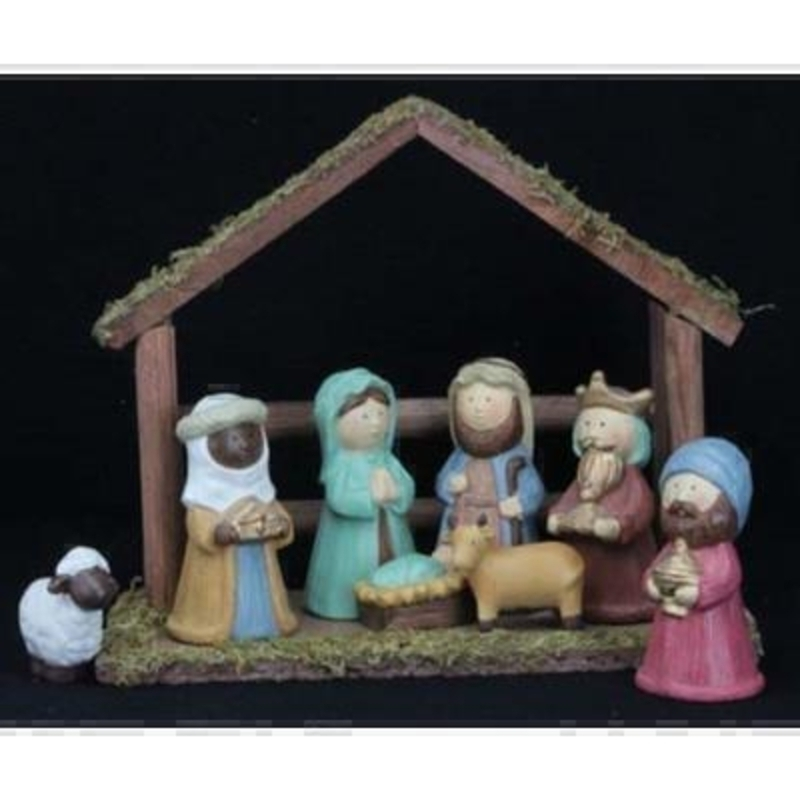 9 Piece Ceramic Nativity Wooden House by Gisela Graham: Booker Gifts
