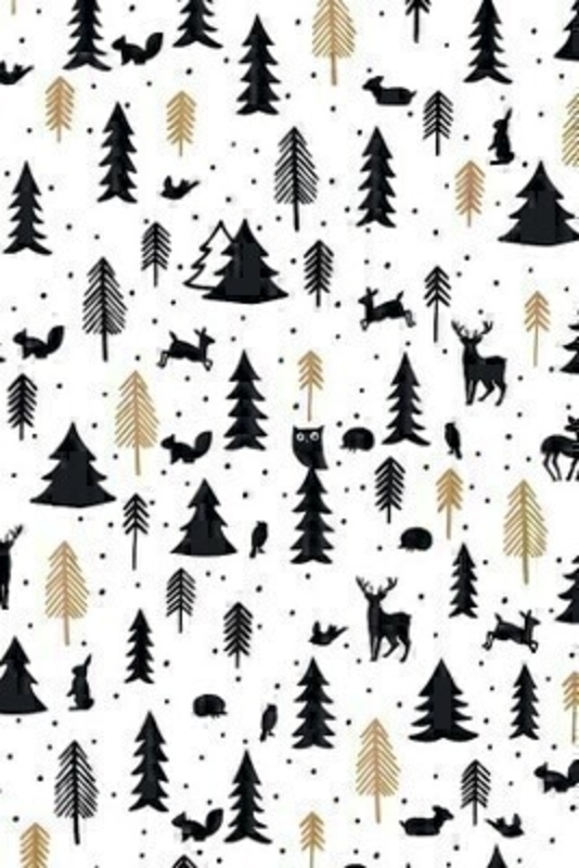 A delightful winter wonderland black and gold themed wrapping paper with Christmas Trees and Woodland Animals. Approx size 1.5m