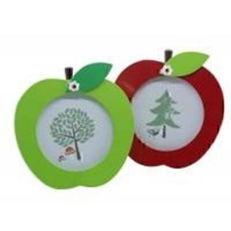 Apple shape Frame by Gisela Graham - Choice of 2. Small wooden photo frame in the shape of an apple. Choice of Green or Red if preference please specify when ordering. Stand on back so frame can be stood on flat surface. For photo size 7x7cm Size 9x10