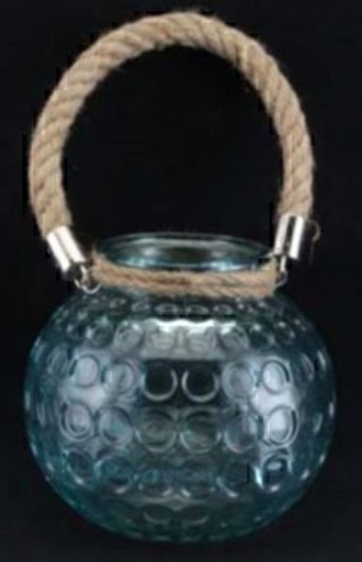 Aqua Glass T-Light Holder by Gisela Graham: Booker Gifts