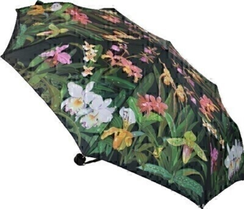 This stunning new folding umbrella from ArtBrollies features a beautiful white and pink Orchid design on a black background. This umbrella has virtually unbreakable fibreglass ribs allowing for flexibility in windy conditions and has automatic opening and closing with a secure velcro fastening and comes complete with a matching sleeve.