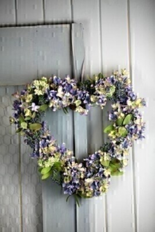 Artifical Blue and Green Heart Wreath By Bloomsberry: Booker Gifts