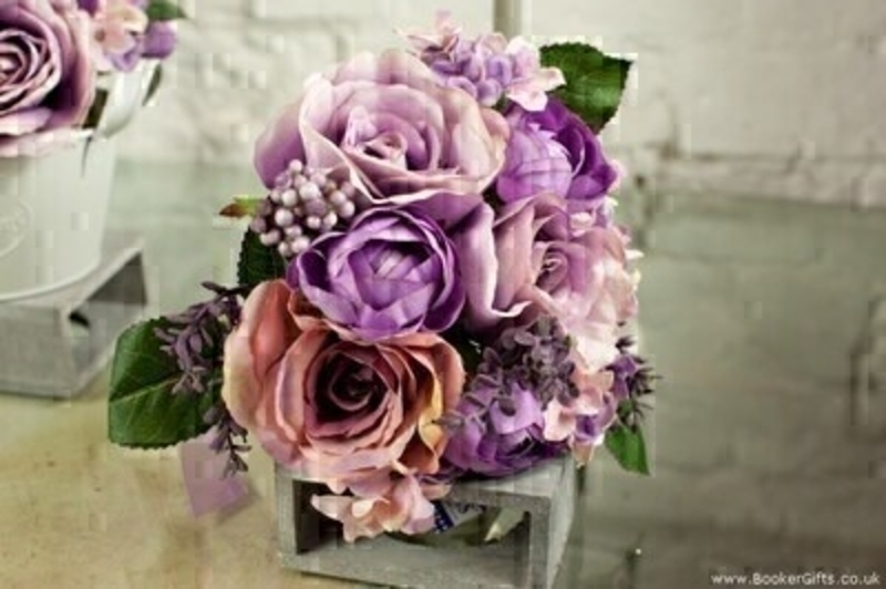 Artifical Bouquet of Vintage Lilac Roses and Hydrangeas: Booker Gifts