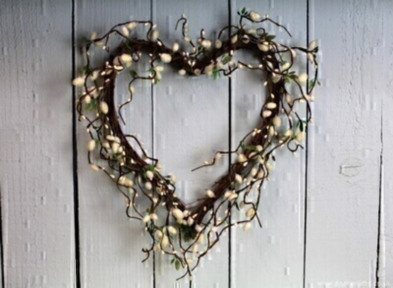 Artifical Cream and Green Pussywillow and Twig Heart by Bloomsbury. This unusual design comes pre arranged in a heart shape and would look lovely displayed in your home. For realistic fake and silk flowers Bloomsbury is second to none.