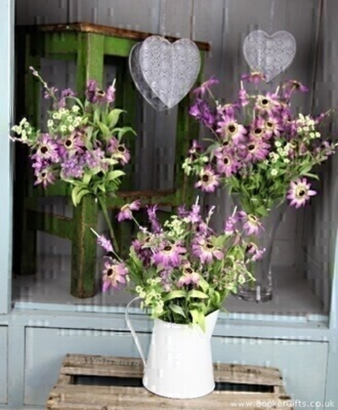Artifical Lilac and Green wild flowers in painted jug: Booker Gifts
