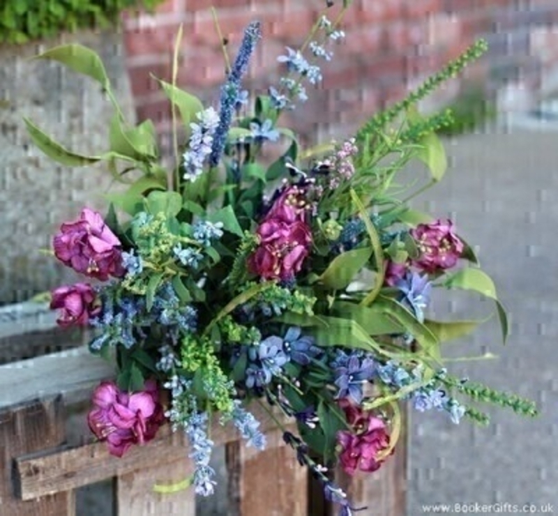 Artifical Mixed Bouquet of Cerise Blue and Green Meadow: Booker Gifts