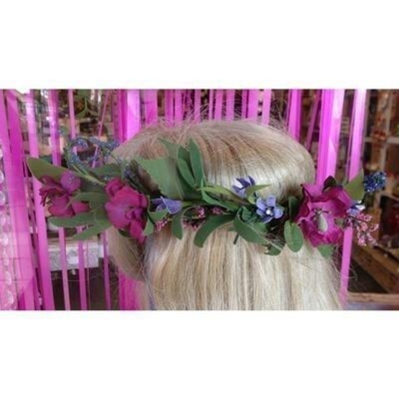 Artificial Flower Crown - Meadow Flower Pink and Purple: Booker Gifts