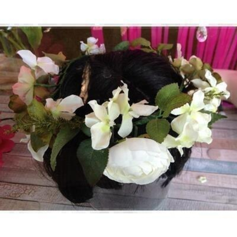 Artificial Flower Crown - Whites and Greens: Booker Gifts