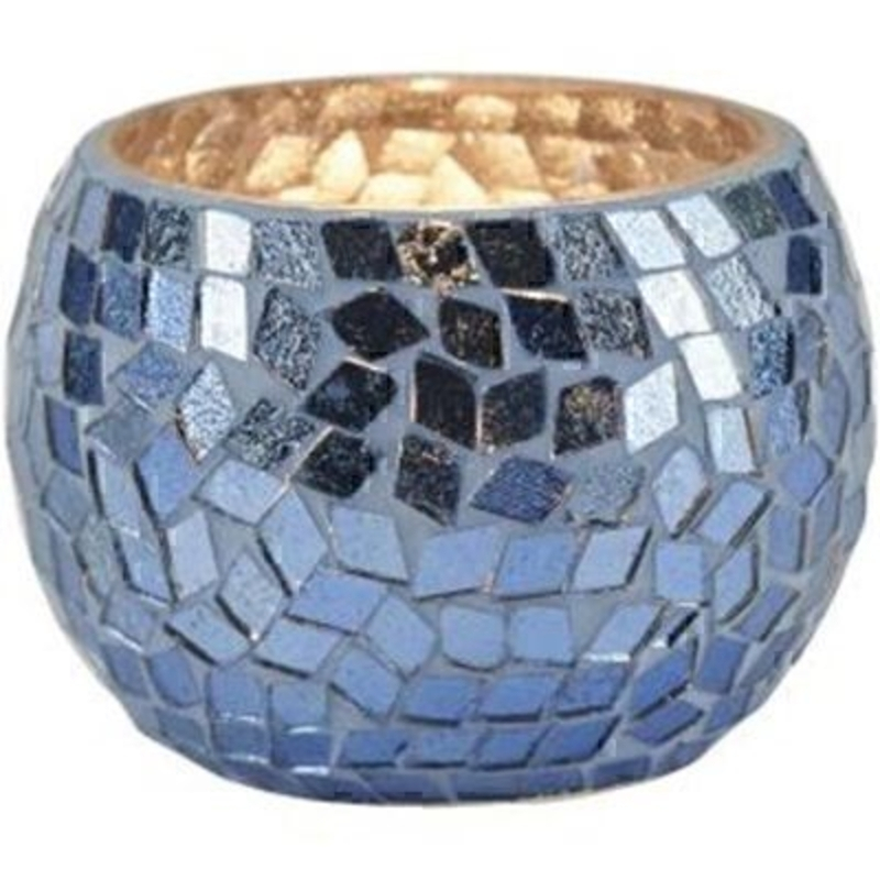 Azure Blue Mosaic Tealight Holder by Transomnia: Booker Gifts