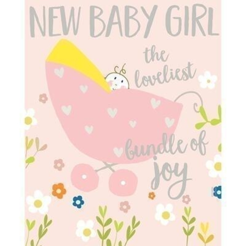 Baby in Pink Pram card by Liz and Pip. Celebrate the arrival of a new baby with this beautiful and quality card. his new Baby Card by Liz and Pip is Embossed and Hot Foiled stamped. ''New Baby Girl The loveliest bundle of joy''. Blank inside for your own message. 120x150mm