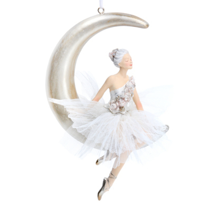 Elegant ballerina sitting on the moon Christmas tree hanging decoration by Gisela Graham would look lovely on your tree this Christmas.  This large decorative ornament by Gisela Graham is made from resin and will delight for years to come. It will compliment any Christmas tree and will bring Christmas cheer to children at Christmas time year after year. Remember Booker Flowers and Gifts for Gisela Graham Christmas Decorations.
