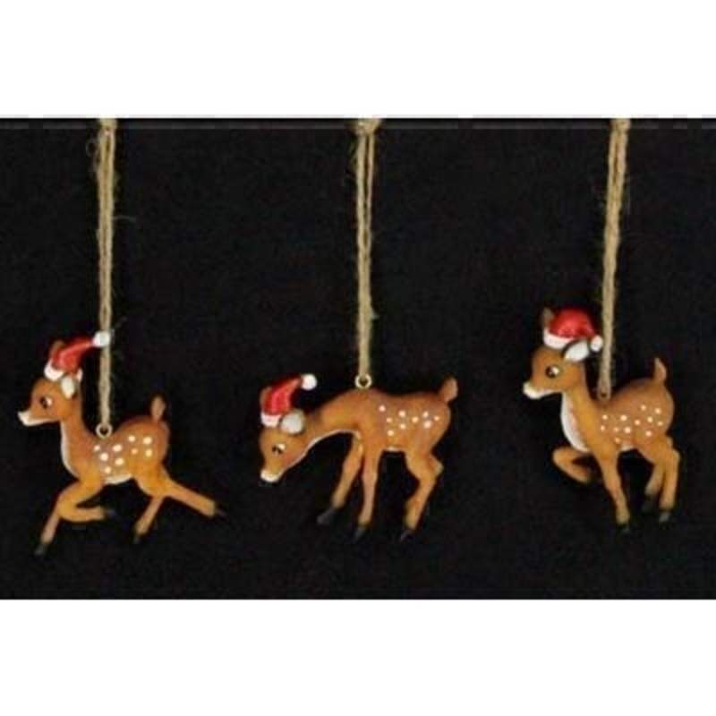 Bambi with Santa Hat Tree Decoration by Gisela Graham: Booker Gifts