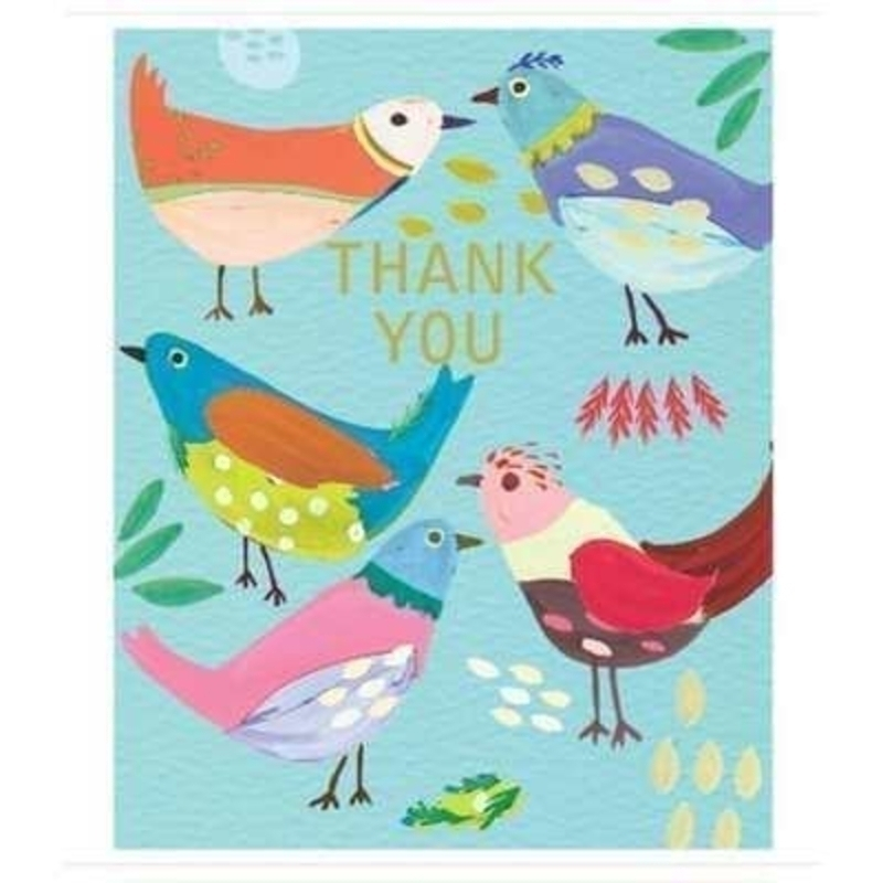 Vibrant Thank you with vibrant birds card by Liz and Pip. Card decorated with  colourful birds. Blank inside for your own message. 120x150mm