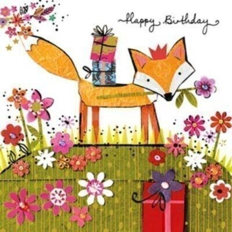 Birthday Card Birthday Fox by Paper Rose. This quality card is designed under the Artisan label for Paper Rose. It is embossed and hot foil stamped and depicts a fox with presents on his back. Happy Birthday on the front and Wishing you a birthday as special as you are on the inside. Comes with a purple envelope. Size 16x16cm
