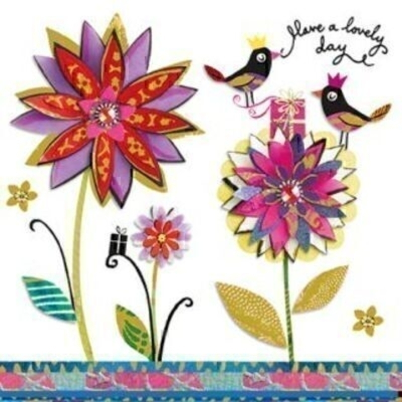 Birthday Card Large Flowers with Birds by Paper Rose: Booker Gifts