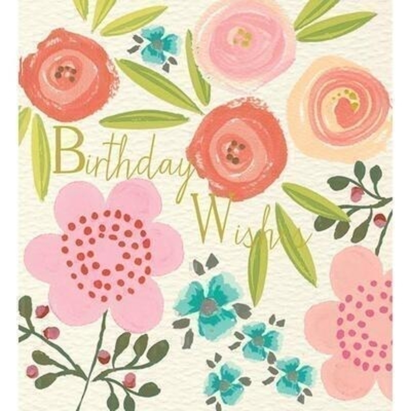 Birthday Wishes Flowers Birthday card by Liz and Pip: Booker Gifts