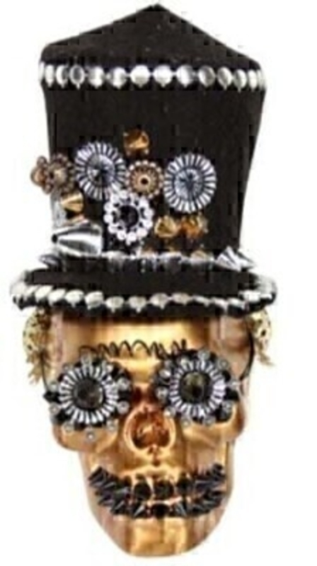 Black and Gold Skull with Top Hat Decoration by Gisela Graham: Booker Gifts
