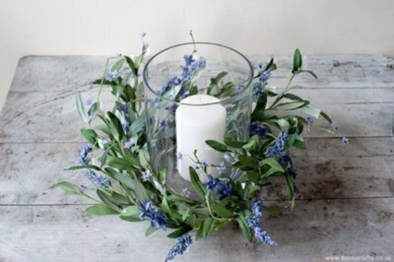 Blue Artificial French Lavender Centrepiece by Bloomsbury. Vase and candle not included These stunning silk flowers will certainally brighten up any table. For realistic fake and silk flowers Bloomsbury is second to none.