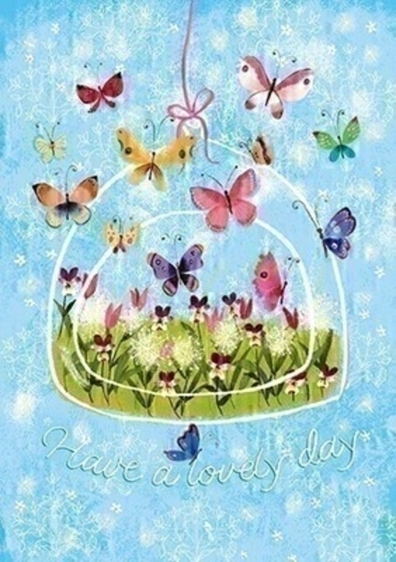 Blue Butterflies Blank Greetings Card by Paper Rose: Booker Gifts