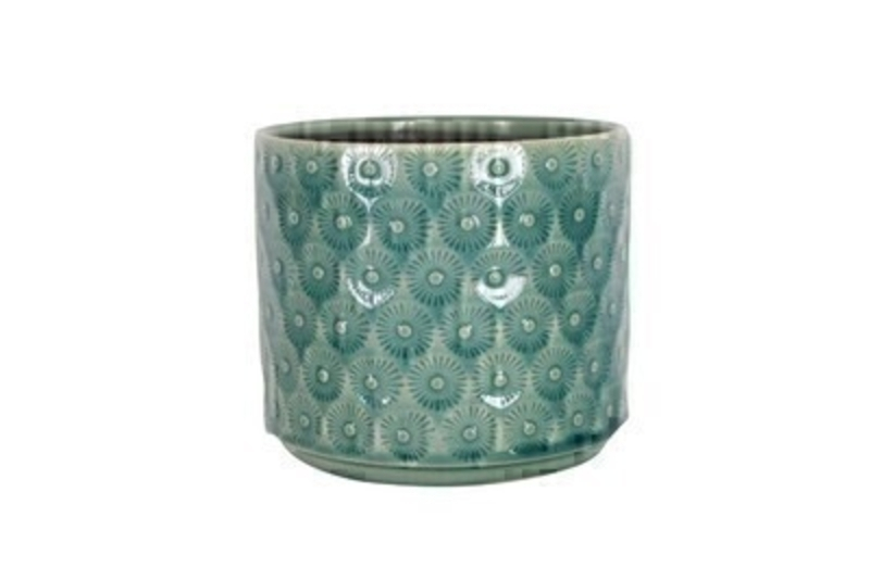 Blue Daisy Ceramic Medium Pot Cover by Gisela Graham: Booker Gifts