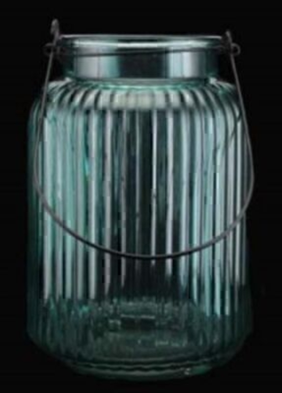 Large blue Glass Candle holder Lantern by Gisela Graham. The aqua blue colour and ribbed effect are a great decorative touch to this lantern by the designer Gisela Graham. Size (not including the handle) 25x17.5cm