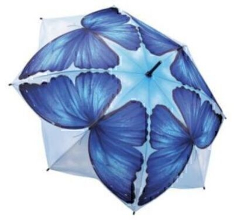 Another beautiful stick umbrella from Galleria - with detailing and colouring second to none. The blue patterned butterflies on the fabric are designed wing to wing making a very interesting shape. The shaped edges give that extra wow factor. Featuring vir