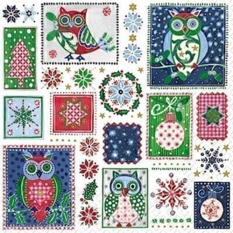 Blue Owl Ludovico Christmas Napkins By Stewo: Booker Gifts