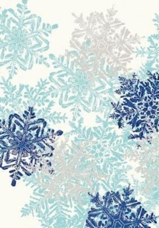Blue and silver snowflake design Christmas roll wrap paper by Swiss designer Stewo. Quality wrapping paper. Hologram - 76gsm. Size 70cm x 2m.