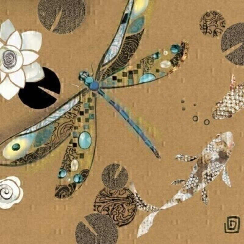 Blue and Gold Dragonfly and Fish Blank Greetings Card by Paper Rose: Booker Gifts