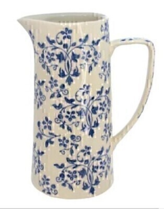 Blue and White Ceramic Forget Me Not Jug - by Gisela Graham: Booker Gifts