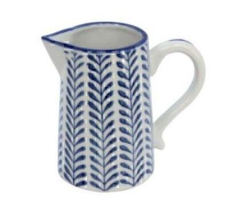Blue and White Ceramic Leaf Jug by Gisela Graham: Booker Gifts
