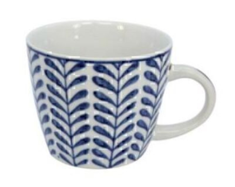 Blue and White Ceramic Leaf Mug by Gisela Graham: Booker Gifts