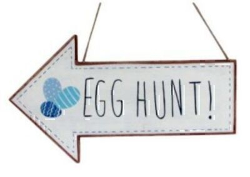 Blue and White Easter Egg Hunt Arrow by Gisela Graham: Booker Gifts