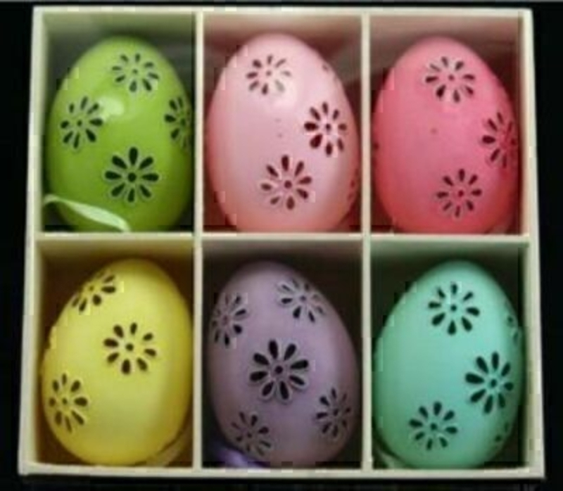 Box of 6 colourful moulded Egg - with cut out daisy pattern - hanging decoration by Gisela Graham. Each egg 6cm. Box size 13x14x4.5cm