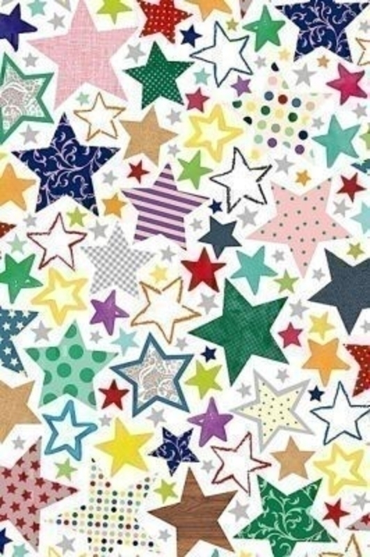 Bright Coloured Stars Roll Wrap Linos by Stewo. Bright White Coated Paper - 80gsm. Size 70cm x 2m.