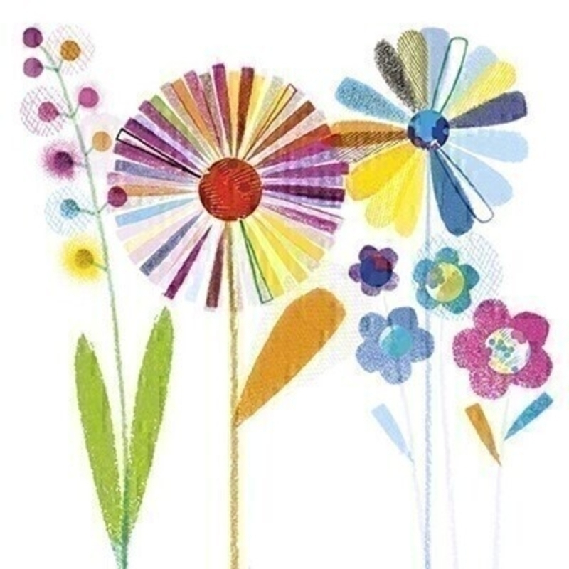 Bright Flowers Blank Greetings Card With Envelope: Booker Gifts