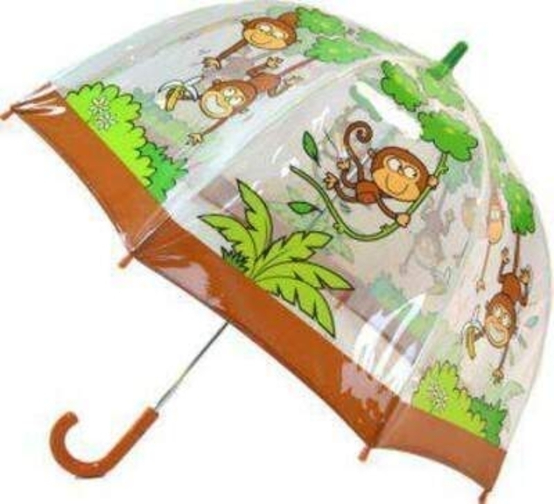 Bugzz Monkey Childrens Umbrella Clear Pvc: Booker Gifts