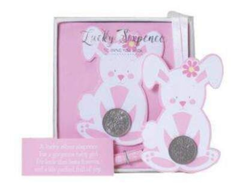 Bunny Rabbit Lucky Six Pence for Baby Girl by Deva Desi: Booker Gifts