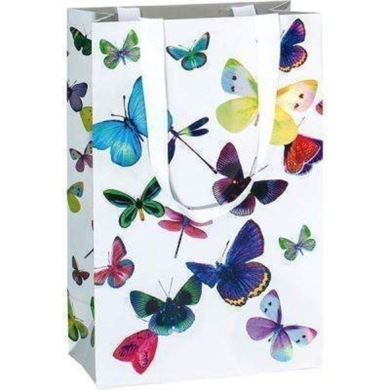 Butterfly Gift Bag Mariposa by Stewo - Small. Holographic butterfly design on white background on gloss laminate card. This gift bag is all the quality you would expect from Stewo made from thick card and the ribbon handles are also fixed with rivets.