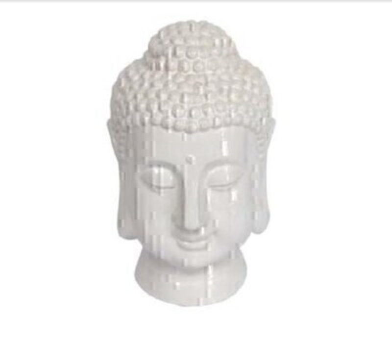Zen inspired white ceramic Buddha ornament by Gisela Graham.  This iconic Buddha design would look equally at home in a modern or retro styled space.  Medium Size (LxWxD) 14.5cm x 24.5cm x 16cm.