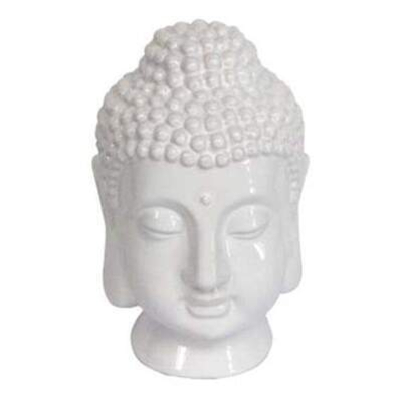 Zen inspired white ceramic Buddha ornament by Gisela Graham. This Buddha would look equally at home in a modern or retro styled space. Size 11.5x20x13cm