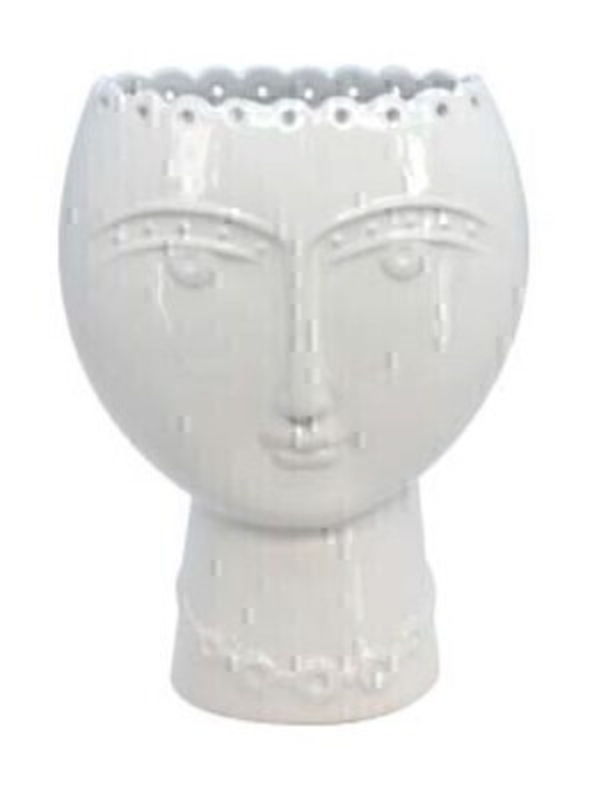Contemporary lady head sculpture white ceramic vase by designer Gisela Graham.  This item would look equally stunning with or without flowers.  Small Size (LxWxD) 13.5cm x 19cm x 6.5cm.