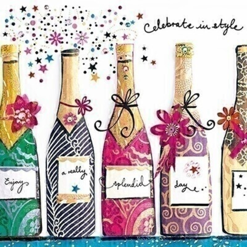 This Birthday greetings card from Paper Rose is decorated with colourful bottles of fizz complete with confetti and the middle bottle is 3D with Celebrate in Style written on the front. The card is perfect to send to someone celebrating a birthday and it has Have a Very Happy Birthday written on the inside. Comes complete with a purple envelope.