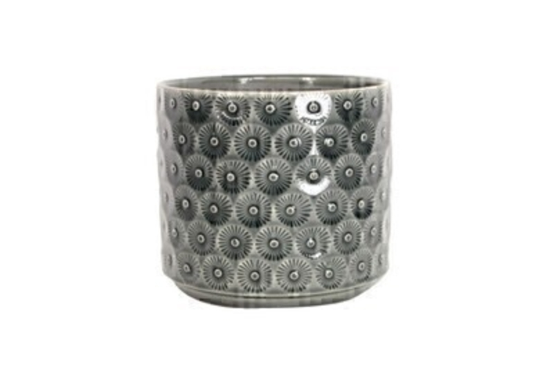 Charcoal Daisy Ceramic Medium Pot Cover by Gisela Graham: Booker Gifts