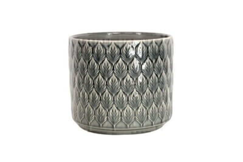 Charcoal Leaves Ceramic Medium Pot Cover Gisela Graham: Booker Gifts