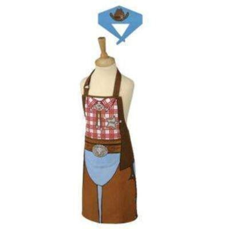 Typhoon Cowboy Apron and Bandana set is 100% cotton and machine washable at 40oC. The set includes an apron and bandana with easy release and adjustable neck tape. Apron L 60 x W 45cm Bandana L 80 x H 17cm