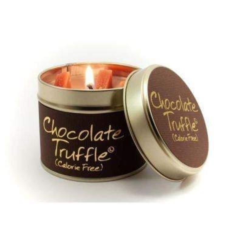 Let Lily Flame scented candles transport you to a different place. Chocolate Truffle; Calorie Free!Super rich - luxurious Belgian chocolate. Go on – Give into it! Burn Time 35 hours. Dimensions 7.7 x 6.6cm